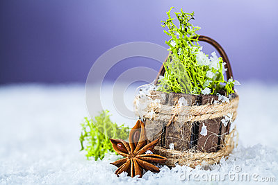 Basket with grass