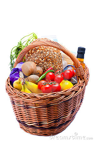 Basket with groceries food