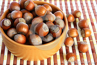 Basket with hazelnuts