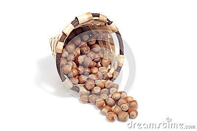 Basket of hazelnuts, autumn fruits,  on white