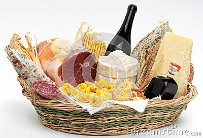 Basket with italian food