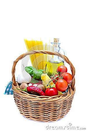 Basket with italian food ingredients