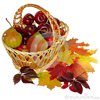 Basket and leaves
