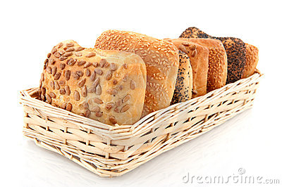 Basket with luxury bread rolls