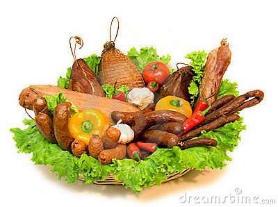 Basket of meats and vegetables