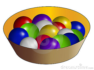 Basket and multicolor ball
