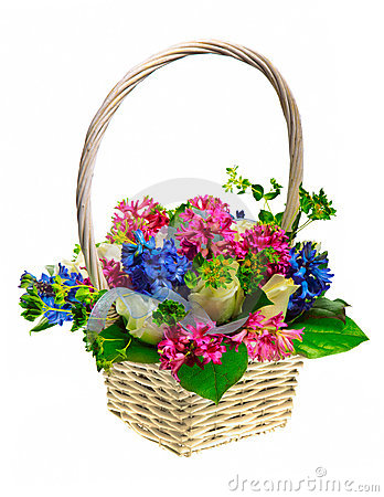 Free Basket Of Flowers Royalty Free Stock Image - 18275246