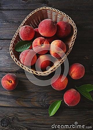 Free Basket Of Fresh Peaches Royalty Free Stock Image - 97582036