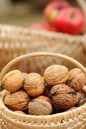 Free Basket Of Whole Walnuts Stock Images - 7534074