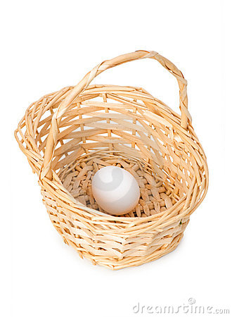 Basket with one egg isolated