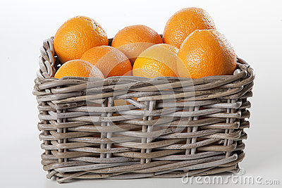 Basket of oranges with clipping mask