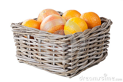 Basket of oranges and grapefrui with clipping mask