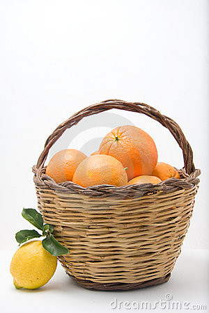 Basket of oranges and one lemons