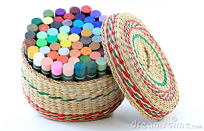 Basket of Pastel Crayons