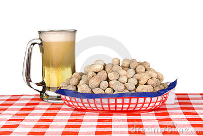 Basket of peanuts and mug of beer