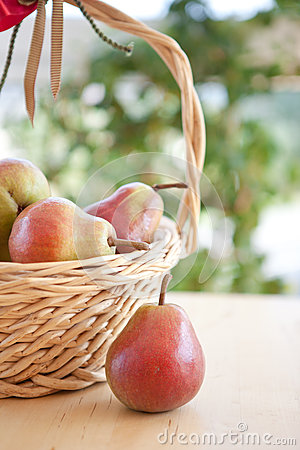 A basket with pears