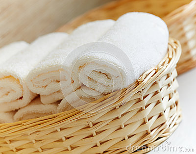 Basket of pure white towels