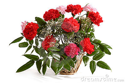 Basket with Red Carnations