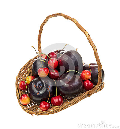 Basket of ripe cherries and plums