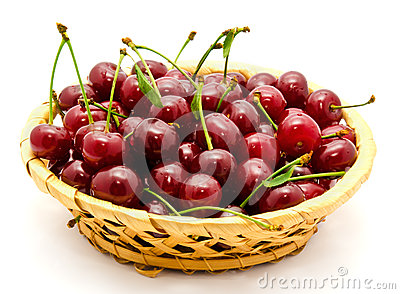 Basket with ripe wet cherry