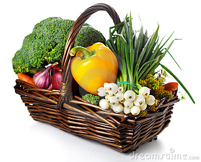Basket of seasonal fresh vegetables