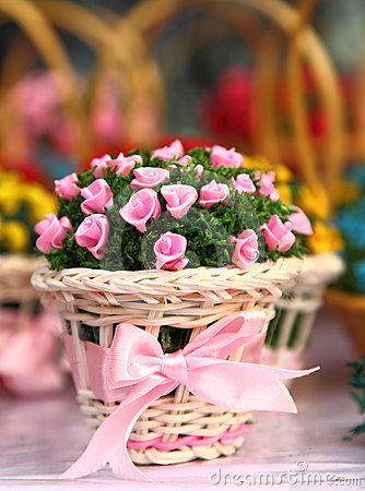 Basket of Silk Roses on Table