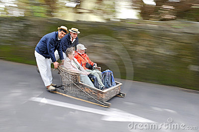 Basket Sledge Ride in Madeira (Portugal) Editorial Photo