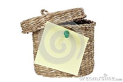 Basket with sticky note