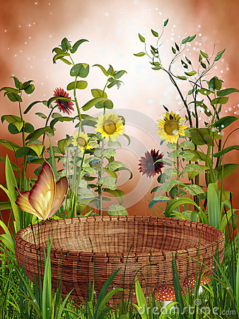 Basket and sunflowers