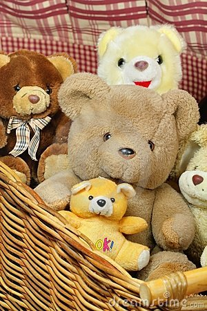 Basket Of Teddy Bears