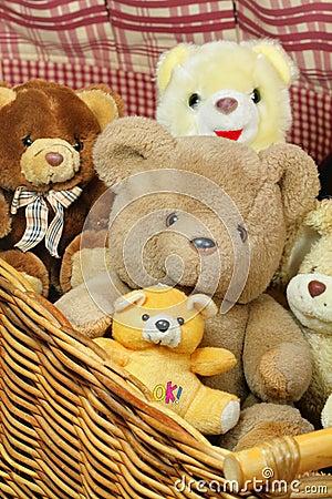 Basket of teddy bears