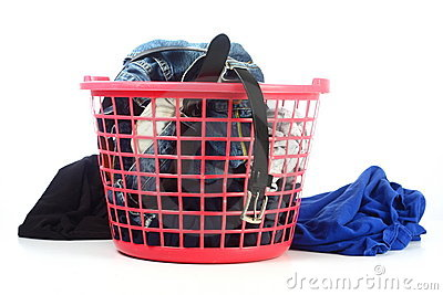 Basket of unfolded clothes