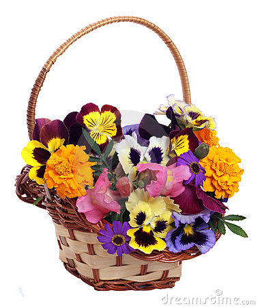 Basket of various flowers
