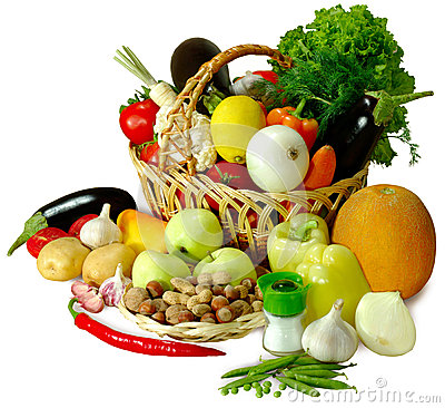 Basket of vegetables isolate