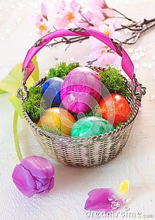 Basket Of Vibrant Marbled Easter Eggs