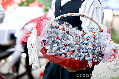 Basket with wedding candies