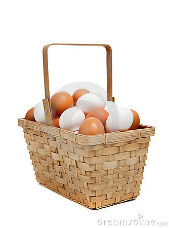 A basket of white and brown eggs on white