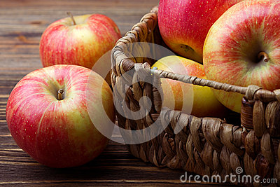 Basket of wicker apples