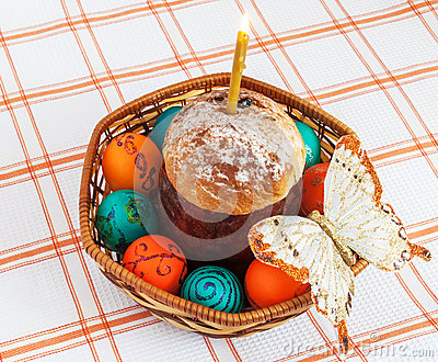 Easter eggs and and cake.