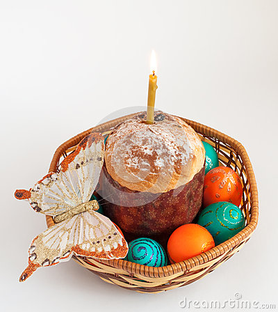 Easter eggs and and cake in basket