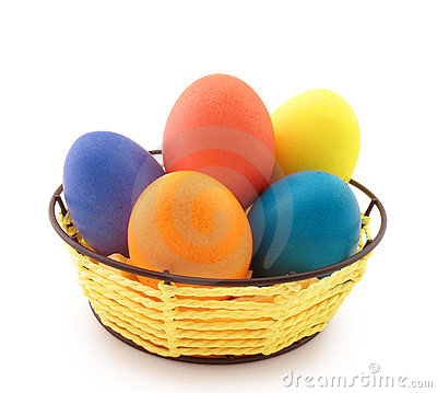 Free Basket With Easter Eggs Stock Photo - 13364430