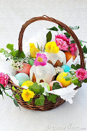 Free Basket With Easter Eggs And Cake Royalty Free Stock Image - 18022186
