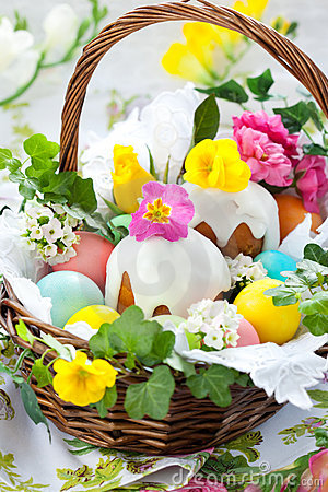Free Basket With Easter Eggs And Cake Royalty Free Stock Image - 18270436