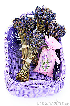 Free Basket With Lavender Stock Photo - 12172370