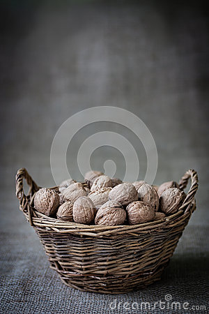 Free Basket With Nuts Stock Images - 60642964