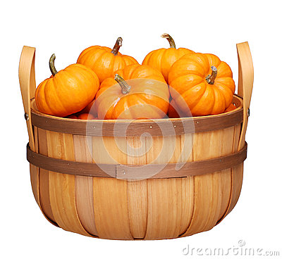 Free Basket With Pumpkins Isolated On White Royalty Free Stock Photos - 59912328