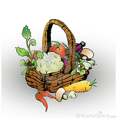 Free Basket With Vegetables Royalty Free Stock Photos - 19932488