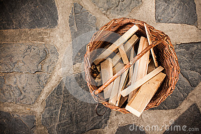 Basket with wood planks