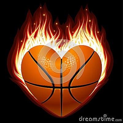Basketbal op brand in de vorm van hart