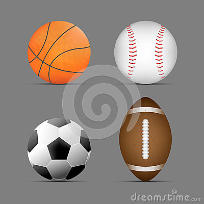 Free Basketball Ball, Football / Soccer Ball, Rugby / American Football Ball, Baseball Ball With Gray Background.set Of Sports Balls. Royalty Free Stock Image - 92767986
